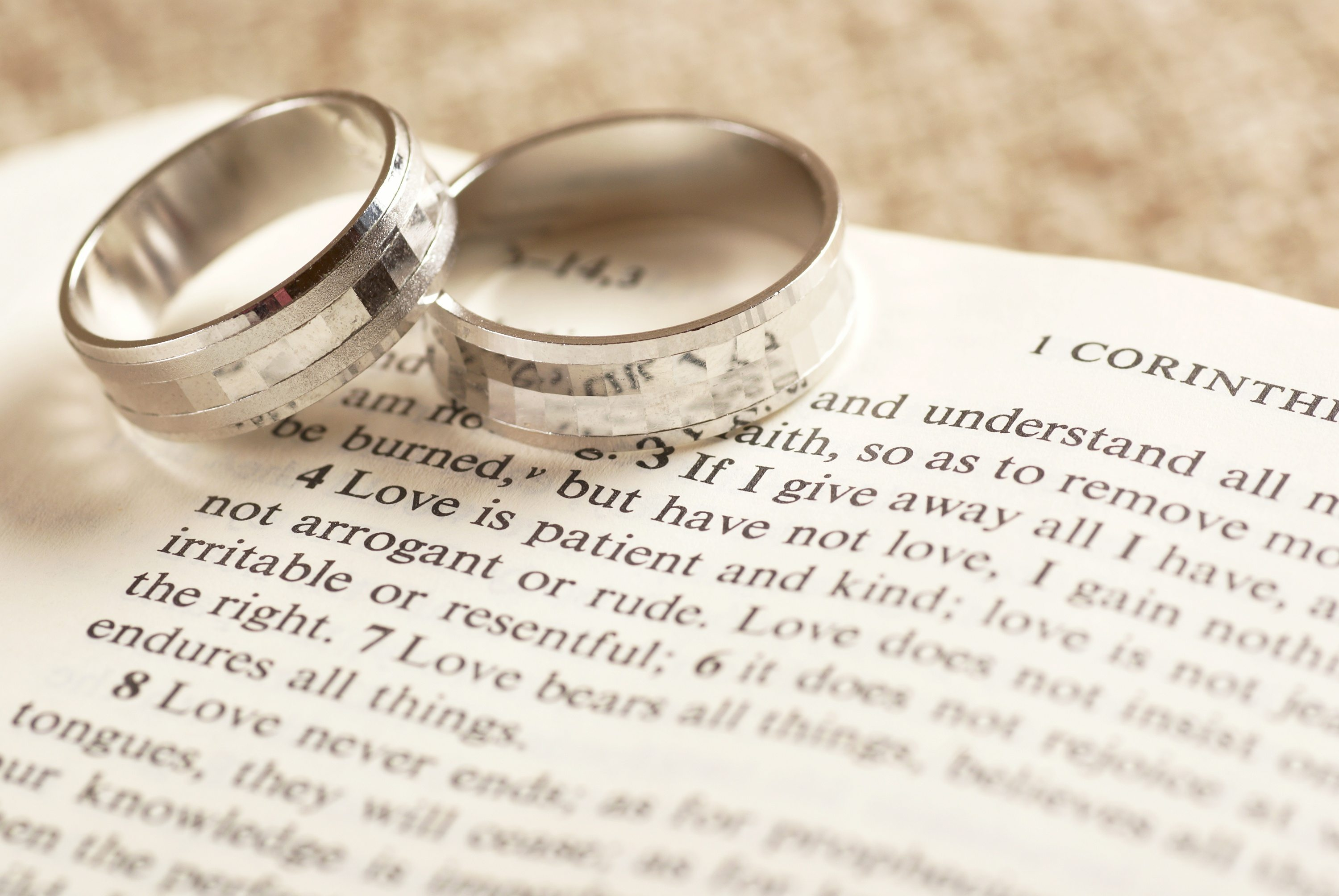 Marital Biblical Advice Dollar Photo Rings on Bible