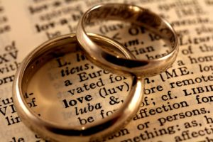 Dollar Photo Love Text with Wedding Bands