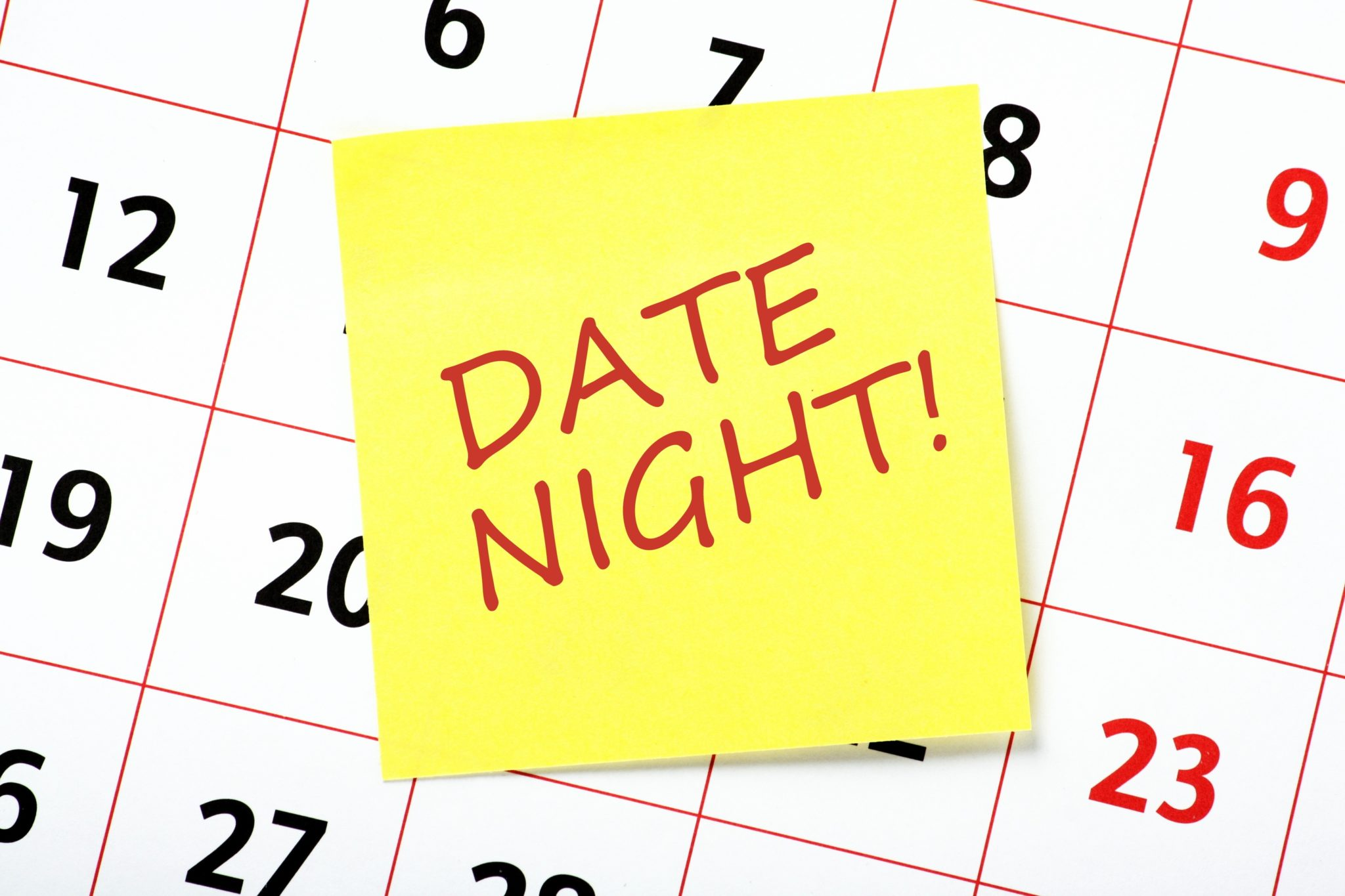 Dollar Photo Date Nights reminder note attached to a calendar