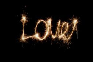 Creative romance Dollar photo Inscription - Love of sparklers.